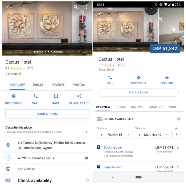 Left: Previous hotel listing layout. Right: New layout. © Android Police